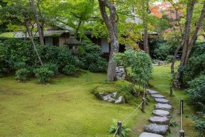 Although visitors may come visit the Okochi Sanso Garden in respect of the actor Denjirō Ōkōchi who previously lived in the home, visitors also enjoy the garden for the Zen feeling created by nature by Japanese Cultural standards. This includes the simplicity of the soft and self sustaining moss which compliments the architecture it surrounds. This image was uploaded on November 3rd, 2016.