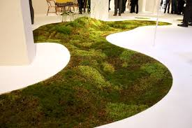 This image displays a moss carpet displayed in Triennale, an art and design museum in Milan. The texture and life in the real moss carpet reveals the diversity and beauty of nature. The artist Makoto Azuma has a history of botanical art to show nature as an artform and still does today. This image was captured on April 25th, 2009.