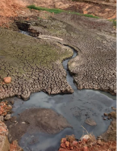 Picture of a sewage disposal area. The repeated disposal of the waste caused a fissure to be created in the land. Chemicals from the sewage destroy the soil around.