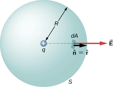 A sphere labeled S with radius R is shown. At its center, is a small circle with a plus sign, labeled q. A small patch on the sphere is labeled dA. Two arrows point outward from here, perpendicular to the surface of the sphere. The smaller arrow is labeled n hat equal to r hat. The longer arrow is labeled vector E.