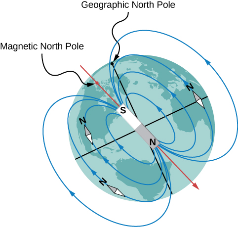 An illustration of the magnetic field of the earth. The magnetic axis is tilted slightly away from the rotation axis. The end of the model magnet near the geographic north pole is a south (S) pole, but the location of the magnetic axis at the earth's surface nearest the geographic north pole is called the Magnetic North Pole. The field lines form loops that come out of the north pole of the magnet (near the earth's geographic south pole) and into the magnet's south (near earth's geographic north) pole. Compasses placed in the field align with the field lines and point north.