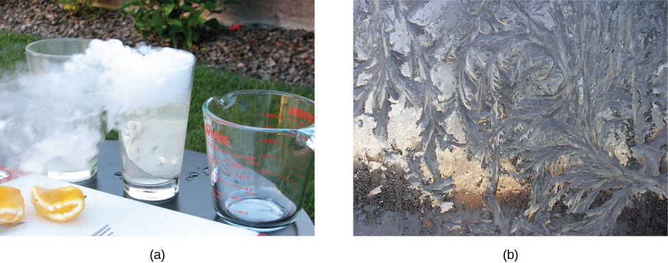 Photograph a shows ice in a glass turning into white coloured gas. Photograph b shows a frost covered window.