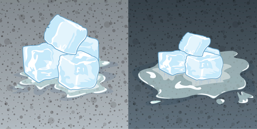 Figure on the left shows ice melting on a light coloured pavement. Figure on the right shows ice melting on a darker pavement. Here the ice has melted more.