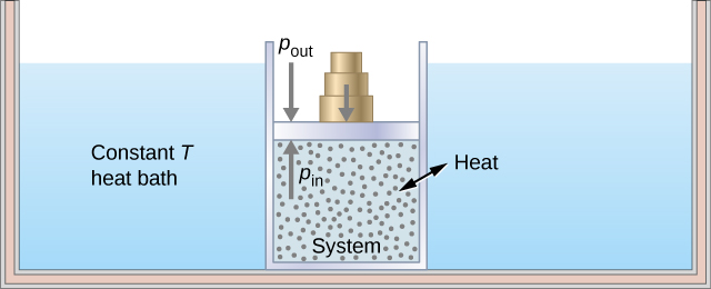 """The figure illustrates a large insulated container filled with fluid. This fluid is labeled as the constant T heat bath. Inside the heat bath is a smaller container filled with gas. The smaller gas container is capped by a piston that has weights on top of it. The inside of the smaller container is the system. A double headed arrow across the smaller container's walls labeled """"heat"""" indicates that heat can flow between the bath and the system. An upward arrow inside the system points up at the bottom of the piston and is labeled p in. A downward arrow outside the system points down at the top of the piston and is labeled p out. A second downward arrow points at the top of the piston where the weights are stacked."""