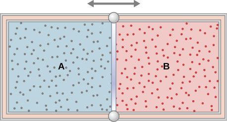 The figure is an illustration of a container with a partition in the middle dividing it into two chambers. A double headed horizontal arrow above the partition indicates that it is moveable The outer walls are insulated. The chamber on the left is labeled with an A, and is full of one gas, indicated by blue shading and many small dots representing the gas molecules. The right chamber is labeled with a B, and is full of a second gas, indicated by red shading and many small dots representing the gas molecules.