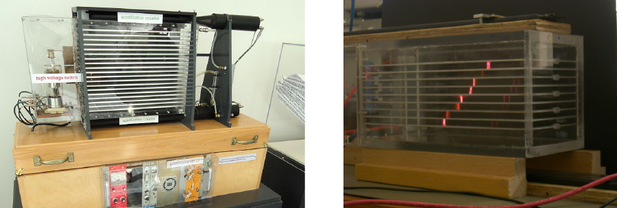 The first photo shows a spark chamber and the second photo shows its operation.