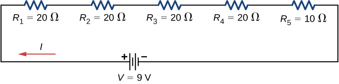 The figure shows four resistors of 20 Ω and one resistor of 10 Ω connected in series to a 9 V voltage source.