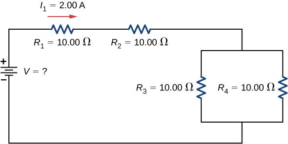 The figure shows a circuit with four resistors and a voltage source. The positive terminal of voltage source is connected to resistor R subscript 1 of 10 Ω with right current I subscript 1 of 2 A connected in series to resistor R subscript 2 of 10 Ω connected in series to two parallel resistors R subscript 3 of 10 Ω and R subscript 4 of 10 Ω.