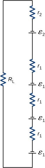 The resistor R subscript L is connected in series with resistor r subscript 2, voltage source ε subscript 2, resistor r subscript 1, voltage source ε subscript 1, resistor r subscript 1, voltage source ε subscript 1, resistor r subscript 1and voltage source ε subscript 1. All voltage sources have upward negative terminals.