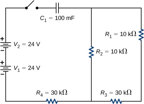 The circuit shows positive terminal of voltage source V subscript 1 of 24 V connected to negative terminal of voltage source of voltage source V subscript 2 of 24 V. The positive terminal of V subscript 2 is connected to an open switch. The other end of the switch is connected to capacitor C subscript 1 of 100 mF which is connected to two parallel branches, one with resistor R subscript 2 of 10 kΩ and other with R subscript 1 of 10 kΩ and R subscript 3 of 30 kΩ. The two branches are connected to source V subscript 1 through resistor R subscript 4 of 30 kΩ.