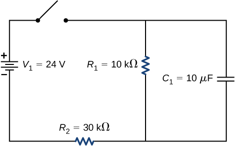 The positive terminal of voltage source V subscript 1 of 24 V is connected to an open switch. The other end of the switch is connected to two parallel branches, one with resistor R subscript 1 of 10 kΩ and other with capacitor C of 10 μF. The two branches are connected to source V subscript 1 through resistor R subscript 2 of 30 kΩ.