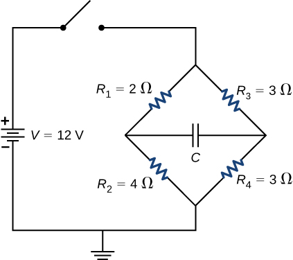 The positive terminal of voltage source V of 12 V is connected to an open switch. The other end of the switch is connected to two parallel branches. The first branch has resistors R subscript 2 of 2 Ω and R subscript 2 of 4 Ω. The second branch has resistors R subscript 3 of 3 Ω and R subscript 4 of 3 Ω. The two branches are connected in the middle using capacitor C. The other ends of the branches are grounded.