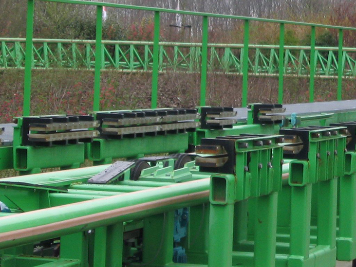 Photograph shows the rows of rare-earth magnets installed along line of the roller coaster.