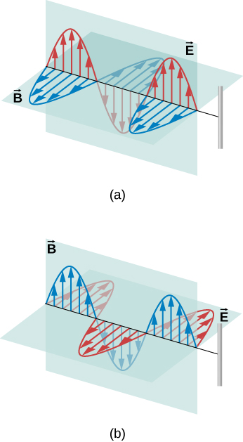 Figures a and b show electromagnetic waves with both electic and magnetic components. In figure a, the electric field is parallel to the wire and the magnetic field is perpendicular. In figure b, the magnetic field is parallel to the wire and the electric field is perpendicular.