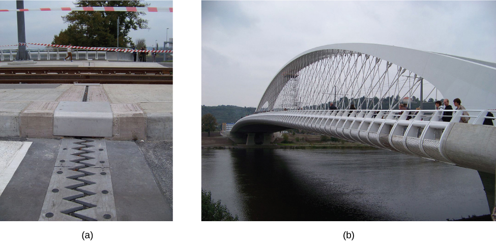 Photograph a shows an expansion joint as a small gap on a road. Photograph b shows Auckland Harbour Bridge.