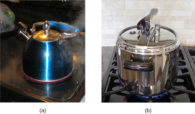 Figure a is a photograph of a tea kettle on a stove. Steam is seen coming out of the nozzle of the kettle. Figure b is a photograph of a pressure cooker on a stove.