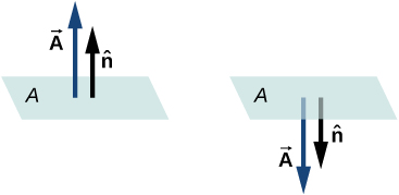 Figure shows two horizontal planes labeled A. The first has two arrows pointing up from the plane. The longer is labeled vector A and the shorter is labeled n hat. The second plane has the same two arrows pointing down from the plane.