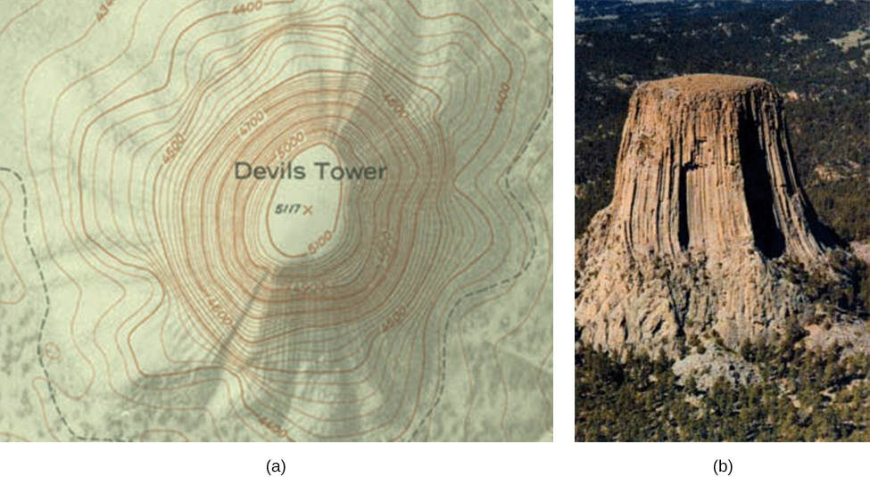 Part a shows the top view photo of topographical lines of Devil's Tower in Wyoming and part b shows the side view of the Tower.