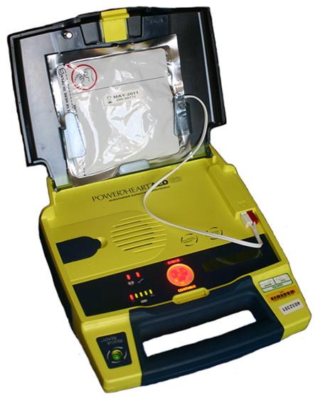 Photograph of an automated external defibrillator.