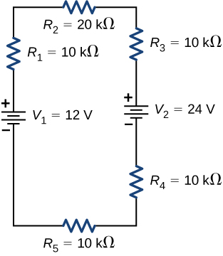 The figure shows positive terminal of voltage source V subscript 1 of 12 V connected in series to resistor R subscript 1 of 10 kΩ connected in series to resistor R subscript 2 of 20 kΩ connected in series to resistor R subscript 3 of 10 kΩ connected in series to positive terminal of voltage source V subscript 2 of 24 V connected in series to resistor R subscript 4 of 10 kΩ connected in series to resistor R subscript 5 of 10 kΩ.