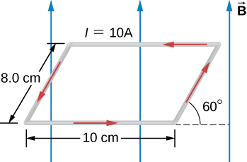 The current loop forms a parallelogram: the top and bottom are horizontal and 10 cm long, the sides are tilted at an angle of 60 degrees up from the +x direction and are 8.0 cm long. A current of 20 A flows counterclockwise. The magnetic field is up.