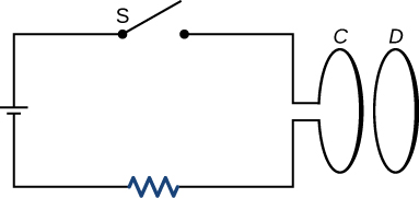 Figure shows a circuit that consists of a resistor, capacitor, opened switch and a loop C. A loop D is located next to the loop C.
