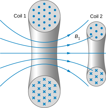 Figure shows the cross sections of two coils. In each one, the cross sections of the wire of the coil are shown as two circles, one at the top and the other at the bottom. Dots in the upper circles and crosses in the lower ones indicate the direction of flow of current. Coil 1 has field lines labeled B1 passing from between the two circles, going right. Some of these pass through coil 2, which is smaller than coil 1.