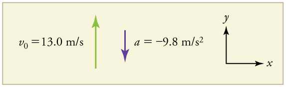 Velocity vector arrow pointing up in the positive y direction, labeled v sub 0 equals thirteen point 0 meters per second. Acceleration vector arrow pointing down in the negative y direction, labeled a equals negative 9 point 8 meters per second squared.