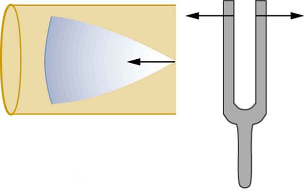 The right side shows a vibrating tuning fork with right arm of fork moving right and left arm moving left. The left side shows a cone of resonance waves moving across a tube from the open end to the closed end. The tip of the cone is at the open end of the tube.