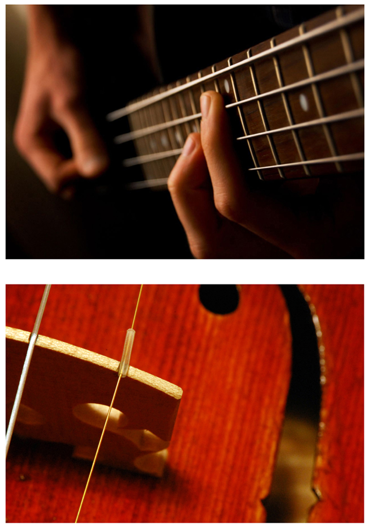 First photograph is of a person playing the guitar and the second photograph is of a violin.