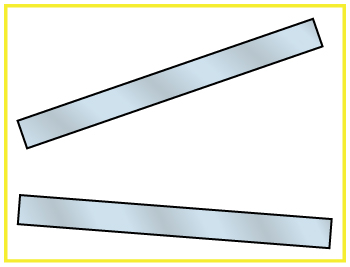 Two plates are shown; one is in horizontal direction and other is above the first plate with some inclination.