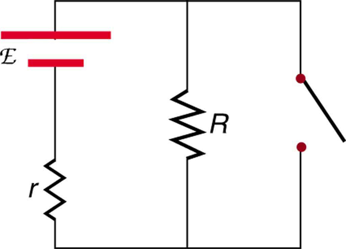 This diagram shows a circuit with a voltage source and internal resistance small r. A resistance R and an open switch are connected in parallel to it.