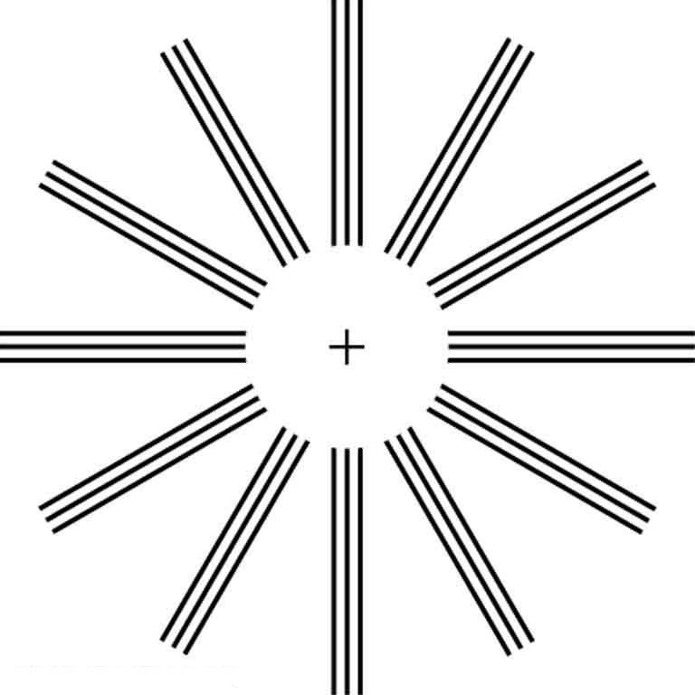 A circle without border and a cross sign in between. A wheel type structure is shown with parallel lines coming from the border of the circle.