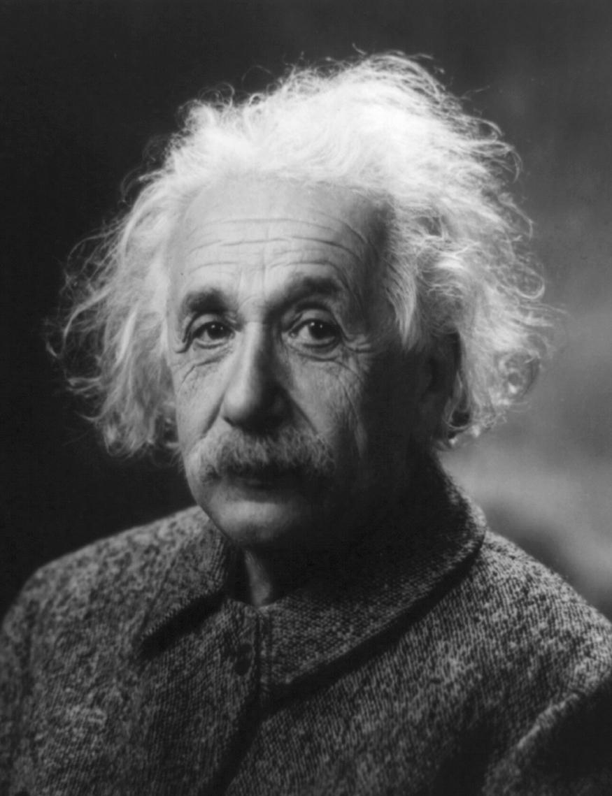 Black and white photograph of Albert Einstein.
