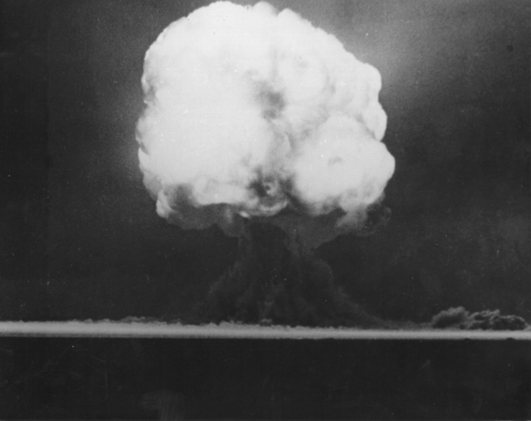 This figure has a mushroom-shaped cloud showing the explosion of a nuclear bomb.