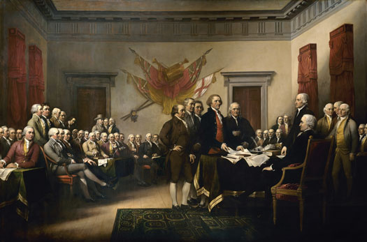 This painting depicts the signing of the Declaration of Independence.