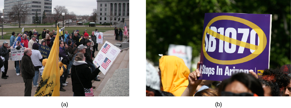 "Image A shows a group of people with signs and flags. Image B shows a sign held above a crowd; the sign shows ""SB1070"" crossed out. Underneath, it states, ""It stops in Arizona""."