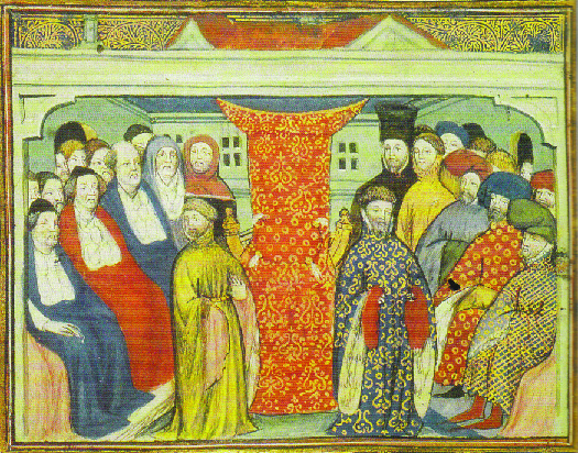A photo of an illustration from a 12th century manuscript. The illustration shows Henry IV in the center right as he claims the throne of England. Henry IV is surrounded by a number of people on the left and right.