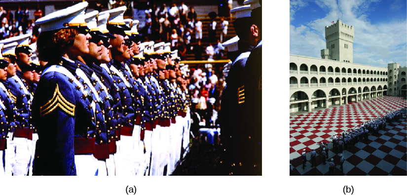 A: an image of a group of cadets standing in rows. B: an image of a building with one high tower and several archways. In the foreground is a large tiled courtyard.
