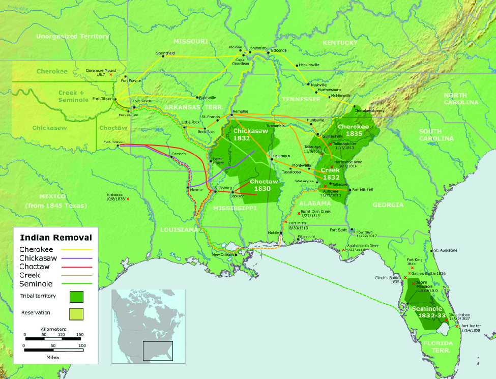 "A map of the United States showing the southeast quarter of the country. On the map the paths of Indian Removal are shown. For ""Cherokee"" a path is drawn from a region labeled ""Tribal territory Cherokee 1835"" in the northwest corner of Georgia to a region labeled ""Reservation"" in ""Unorganized Territory"" to the west of Missouri. For ""Chickasaw"" a path is drawn from a region labeled ""Tribal territory Chickasaw 1832"" in the north half of Mississippi to a region labeled ""Reservation"" in ""Unorganized Territory"" to the west of Arkansas Territory. For ""Choctaw"" a path is drawn from a region labeled ""Tribal territory Choctaw 1830"" in the lower north half of Mississippi to a region labeled ""Reservation"" in ""Unorganized Territory"" to the west of Arkansas Territory. For ""Creek"" a path is drawn from a region labeled ""Tribal territory Creek 1832"" in the northeast of Alabama to a region labeled ""Reservation"" in ""Unorganized Territory"" to the west of Arkansas Territory. For ""Seminole"" a path is drawn from a region labeled ""Tribal territory Seminole 1832-33"" in the south of Florida Territory to a region labeled ""Reservation"" in ""Unorganized Territory"" to the west of Arkansas Territory."