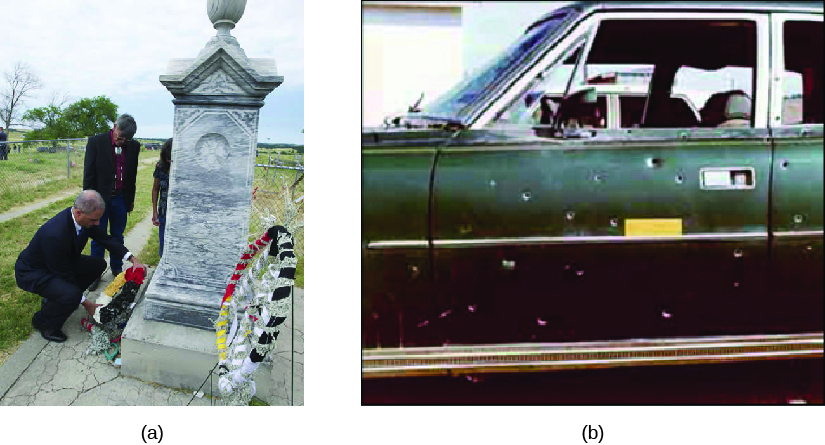 Image A is of three people placing a wreath of flowers in front of a stone monument. Image B is of the side of a truck which is riddled with bullet holes.