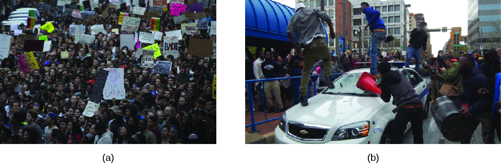 Image A is of a large crowd of people. Some of the people are holding signs. Image B is of a crowd of people. In the foreground three people stand on a car. A fourth person holds a traffic cone against the car's windshield. In the background is a crowd of people along a road.