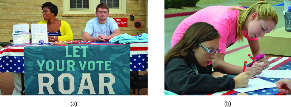 "Image A is of two people sitting behind a table. A cloth sign hanging in front of the table reads ""Let your vote roar"". Image B is of two people filling out forms."