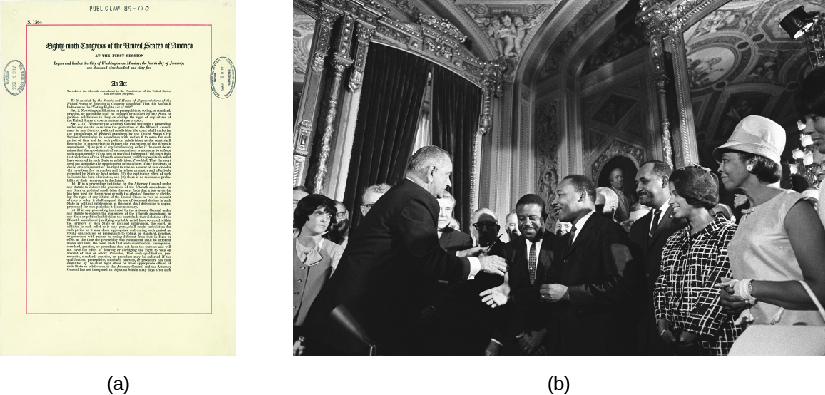 Image A is an official document. The text is unreadable. Image B is of a group of people, including Lyndon B. John, Martin Luther King Jr., and Rosa Parks.
