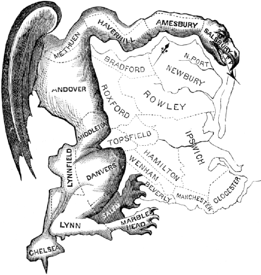 A cartoon that depicts gerrymandering. The outline of several voting districts is shown. The border of the districts is used as the backbone for a large fantastical creature.