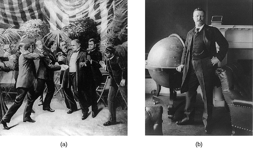 Image A is an illustration of William McKinley's assassination. Image B is a photo of Theodore Roosevelt.