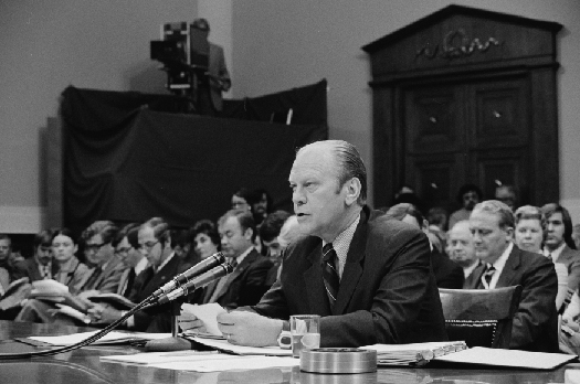 A photo of Gerald Ford speaking in the House of Representatives.