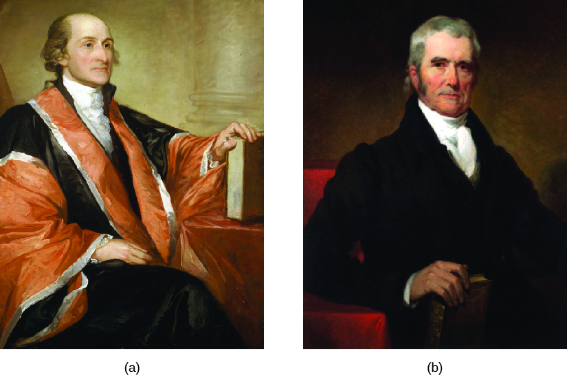Image A is of Justice John Jay. John is seated with his left hand on a book. Image B is of Justice John Marshall. John is standing, and holds a book is his right hand.