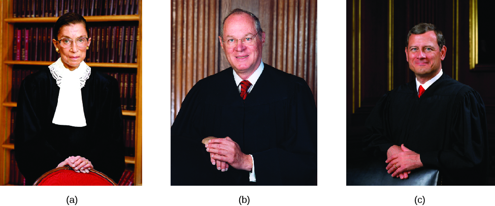 Image A is of Justice Ruth Bader Ginsburg. Image B is of Justice Anthony Kennedy. Image C is of Justice John Roberts.