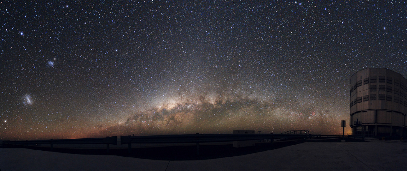 A photograph of the night sky. The bright band of the Milky Way arcs up just above the horizon in this photograph taken in the southern hemisphere. At left the Large and Small Magellanic Clouds can be seen as bright splotches of light. At right a structure housing a large telescope is silhouetted against the sky.